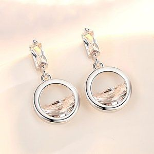 NEW 925 Sterling Silver Diamond Waterdrop Earrings